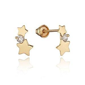 14k Yellow Gold Star Screw back Girls earrings!.